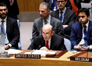 El enviado especial de Estados Unidos para Venezuela ante la ONU, Elliott Abrams. EFE/ Justin Lane