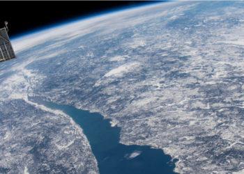 El cráter de impacto Manicouagan en Quebec en Canadá, es una de las evidencias de que los asteroides han impactado la tierra. Foto: Estación Espacial Internacional