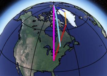 La tierra no es una esfera, cuando gira sobre su eje, una línea imaginaria que pasa a través de los polos norte y sur, se desvía y se tambalea. Crédito: NASA / JPL-Caltech